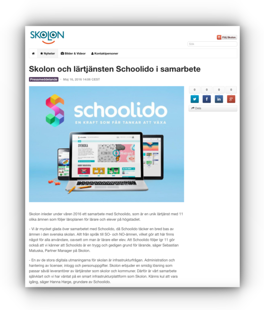 Skolon Schoolido pressrelease