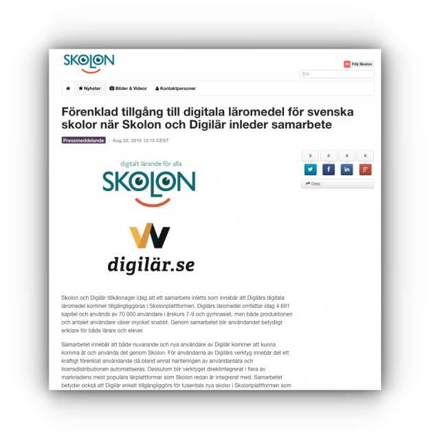 Digilär Skolon pressrelease
