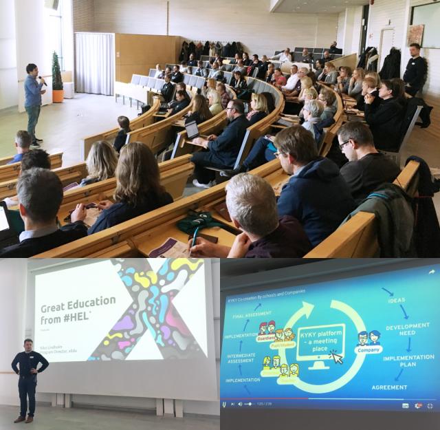 Publiken på EdTest lyssnade intresserat när Peter Skog från Kikora presenterade deras smarta matteverktyg och när Niko Lindholm från xEdu berättade om den finska skolans framgångsrika digitaliseringsarbete.