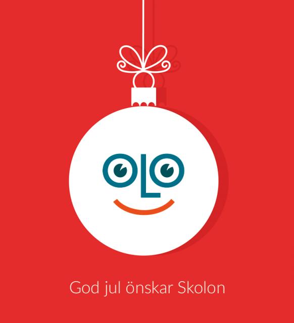 God jul från oss på Skolon, hälsar vi med den glada Skolongubben i en julgranskula!